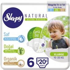 Детские подгузники Sleepy Natural Jumbo Pack 6 X Large (15-25 кг) 20 шт
