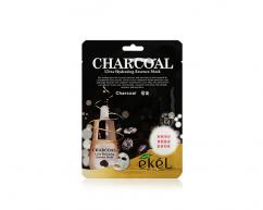 Тканевая маска для лица CHARCOAL с древесным углем очищающая EKEL