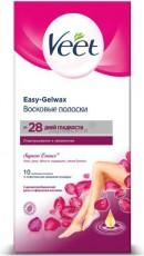 Восковые полоски с ароматом бархатной розы и эфирными маслами Easy Gel-wax 10 шт VEET