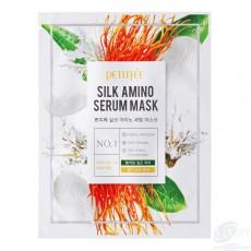 Тканевая маска для лица, с аминокислотами шелка Petitfee Silk Amino Serum Mask (3шт)