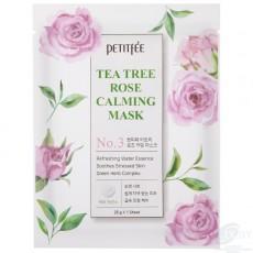 Тканевая маска для лица, успокаивающая кожу, с Чайным деревом и Розой Petitfee Tea Tree Rose Calming Mask (3шт)
