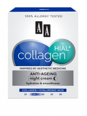 Антивозрастной ночной крем увлажнение и гладкость, 50мл AA COLLAGEN HIAL+