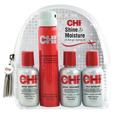 Набор для блеска и увлажнения CHI SHINE & MOISRURE Travel kit:(2+2) Shampoo 59ml + Conditioner 59ml + Silk Infusion 59ml+Infra Texture hair spray 74gr