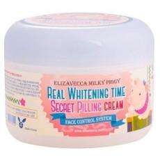 Осветляющий крем для лица с эффектом пилинга Elizavecca Real Whitening Time Secret Pilling Cream