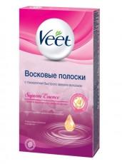 Восковые полоски для чувствительных участков тела (линия бикини и область подмышек) с ароматом бархатной розы и эфирными маслами c технологией Easy Gel-wax 14шт VEET
