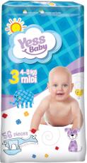 Подгузники Yess Baby Jumbo 3 Midi (4-9 кг) 56 шт