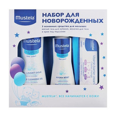 Подарочный набор для новорожденных (Мягкий гель для купания, 500мл, Молочко для тела HYDRA BEBE, 300 мл, Крем под подгузник 1 2 3, 50мл) MUSTELA
