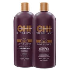 Набор CHI Deep Brilliance Olive & Monoi (Шампунь для поврежденных волос 946 мл + Кондиционер для поврежденных волос 946 мл) (без коробки)