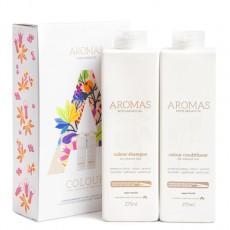 Набор Aromas «Увлажнение окрашенных волос»: шампунь и кондиционер ( Увлажняющий шампунь с аргановым маслом Aromas Colour Shampoo, 275 ml, Увлажняющий кондиционер с аргановым маслом Aromas Colour Conditioner, 275 ml)