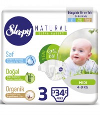 Детские подгузники Sleepy Natural Jumbo Pack 3 Midi (4-9 кг) 34 шт