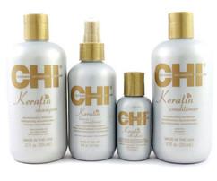 Набор CHI Keratin (Шампунь+Кондиционер+Несмываемый кондиционер+Восстанавливающий комплекс для волос) (без коробки)
