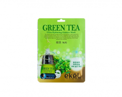 Тканевая маска для лица GREEN TEA с экстрактом зеленого чая выравнивающая тон кожи EKEL