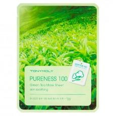 Тканевая маска для лица с экстрактом зеленого чая Tony Moly PURENESS 100 GREEN TEA MASK SHEET (3шт)